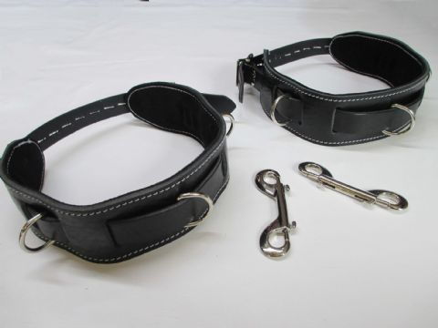 Black English Bridle Leather Pair of Locking Thigh Restraint Cuffs